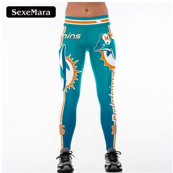 MIAMI DOLPHINS 3D Print Women Leggings High Waist Legging Steelers Printed Women Pants Slim Fitness Leggings