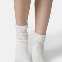 Ladylike Ruched Socks In White - shop autumn lush