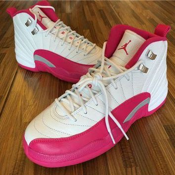 ESBON Air Jordan 12 GS while/baby pink Basketball Shoes 36-40