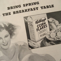 1934 Kellogg's Cereal Ad / 30s Vintage Ad / National Geographic Print Ad / Home Decor / Breakfast Cereal Ad / Ready To Frame