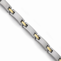 Men's Titanium Yellow IP-Plated 8.5 inch Bracelet - Engravable Gift Item