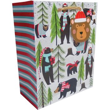 Jillson & Roberts Small Gift Bags, Beary Merry (30 Pieces)