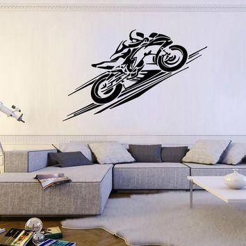 ik283 Wall Decal Sticker Decor sports moto motorcycle bike racer adrenaline