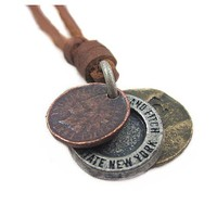 Brown Real Leather and Alloy Pendant Adiustable Necklace Mens Necklace Unisex Necklace Cool Necklac Pl220
