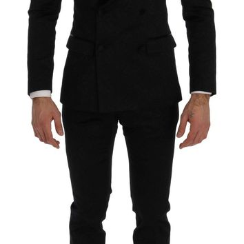 Black Brocade Double Breasted Slim Suit