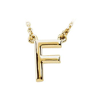 Block initial Necklace in 14k Yellow Gold, Letter F