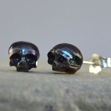 Carved Pearl Skull Stud Earrings with Sterling Silver Backs- Skull Pearl Earrings- Skull Jewelry - Pearl Jewelry - Peacock Pearl
