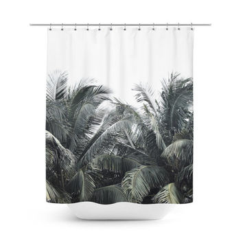 Cozumel Palms - Shower Curtain, Tropical Green Coconut Palm Trees, Beach Style Vanity Bathroom Hanging Tub Curtain Backdrop Accent. 71x74in