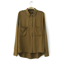 Khaki Shoulder Mark Long-Sleeve Shirt With Pockets