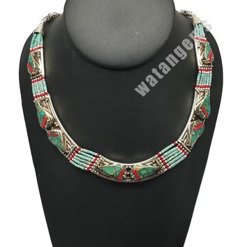 Vintage EthnicTribal Green Turquoise & Red Coral Inlay Boho Statement Necklace,E