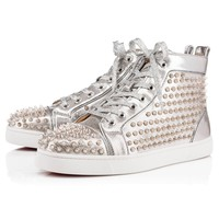 Best Online Sale Christian Louboutin Cl Louis Spikes Men's Flat Silver/silver Leather 18s Shoes 1180210sv71