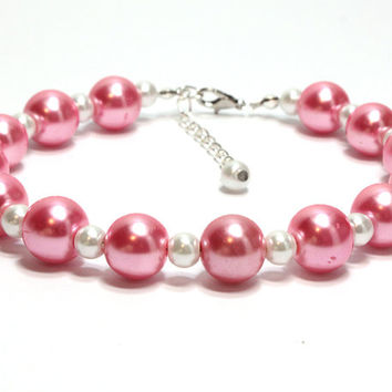 Two Sizes Pearl Dog Collar. Pearl Cat Collar. Hot Pink and White Pearl Collar. Extra Large Dark Pink Beads and Small White Beads for Dogs