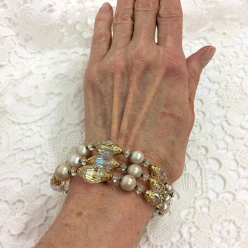 Multi Strand Crystal Pearl Bracelet, Dove Gray Pearls, Gold Filigree Caps, Vendome Fashion Jewelry, Bridal Special Occasion, 1960s Vintage