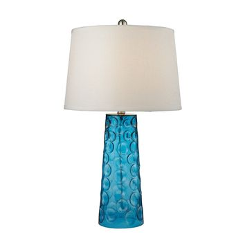 D2619 Hammered Glass Table Lamp in Blue With Pure White Linen Shade