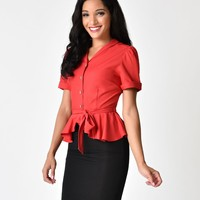 Collectif Vintage Style Red Phoebe Peplum Blouse