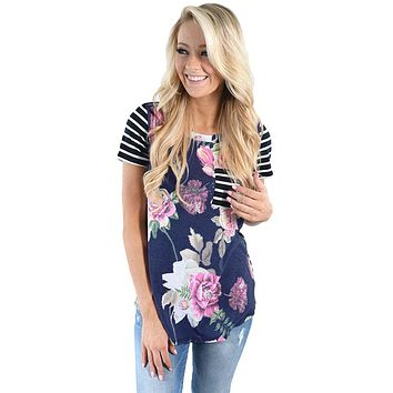 Floral & Striped Raglan Pocket Tee