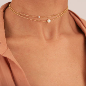 Dainty Gold Pearl Choker Necklace - Layering Necklace Set - Bohemian Jewelry - Freshwater Pearl Necklace - Delicate Chain Choker