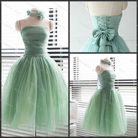 Bridemaid dress cocktail dress Strapless with bow and handmade flowers lace up back New STYLE FOR 2014