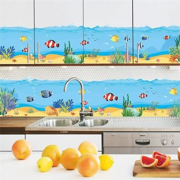 Underwater Fish Bubble Bathroom Wall Stickers For Kids Room Cartoon 3d effect Wall Decals Home Decor PVC Nursery Room Decor