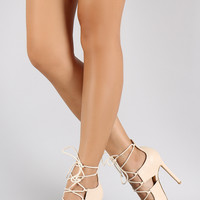 Side Slit Lace Up Pointy Toe Pump