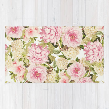vintage peonies and hydrangeas Rug by sylviacookphotography