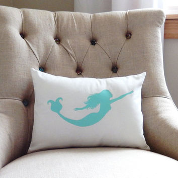 Mermaid Pillow Cover - Sea Pillow -  Seafoam Mermaid Pillow - Ocean Creatures Pillow - Beach Decor Pillow - Coastal Decor - Mermaid Pillow
