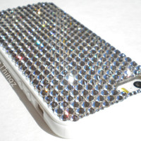 Ultimate Protection + Bling Case for iPhone 5 5S - White Silicone TPU Frame Bumper Cover with Clear Crystals made with Swarovski Elements
