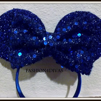 Minnie Mouse Ears Headband Blue Sparkle with Blue Sequin Bow Mickey Mouse Ears, Disneyland, Holiday Mouse Ears FAST SHIPPING