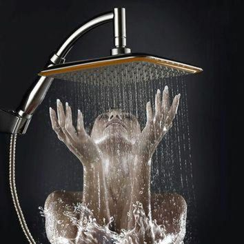 CREYUG7 new arrival Chrome Finished Wall Mounted Brass Shower Arm + Ultrathin Square 9' Shower