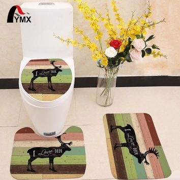 3pcs/set Sea Style Printing Toilet Seat Cover Flannel Fabric Toilet Case Animal Bathroom Non-slip Mat Home Decoration