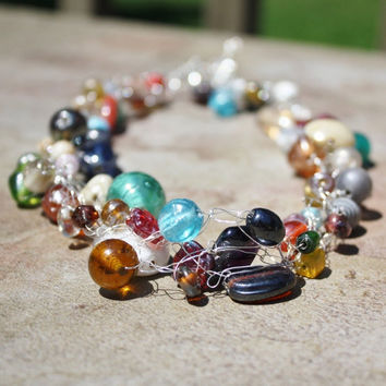 Multicolor necklace, multifacet glass beaded, nickel free