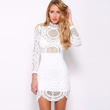 Embroidery Floral Bandage Dress