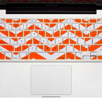 "Orange Chevron Stripe Keyboard Cover Decal Skin for Apple Macbook Macbook Pro iMac Keyboard  13"" 15"" 17"""