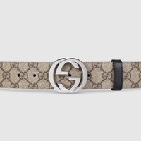 100% Authentic Gucci Reversible GG Supreme belt with G buckle RRP £345