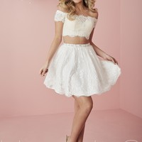 Hannah S 27129 Off the Shoulder Cropped Party Dress | RissyRoos.com