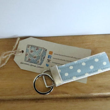 Webbing Key Ring with  Spotty Fabric -   Webbing Key Holder, Gift Basket Idea, Gift Ideas Under 5, Key Chain, Stocking Stuffer, Mini Gift