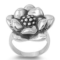 925 Sterling Silver Spring Bloom Sunflower Ring