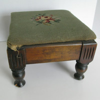 Vintage Foot Stool, Green Needlepoint Wooden Foot Stool
