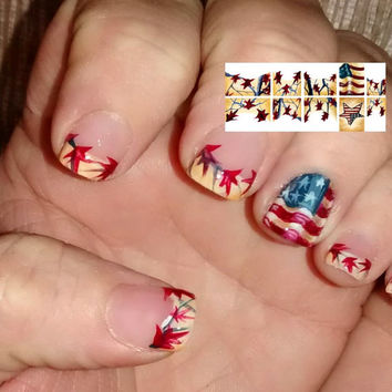 "From the  Freeda Latham "" Signature Collection  "" Americana Camo Waterslide Nail Decals"