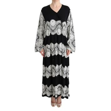 Dolce & Gabbana Black White Floral Applique Kaftan Dress