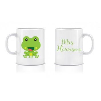 ON SALE Frog Teacher Coffee Mug Teacher Coffee Cup Back to School Custom Personalized - Classroom Decor/Gift 11 oz or 15 oz Coffee Mug