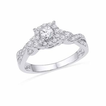 10kt White Gold Womens Round Diamond Solitaire Twist Bridal Wedding Engagement Ring 1/2 Cttw