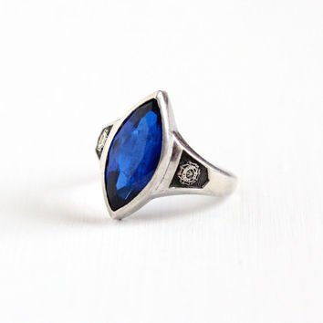 Vintage Sterling Silver Created Blue Spinel VFW Ladies Auxiliary Ring - Retro Size 6 3/4 Veterans of Foreign War Statement Marquise Jewelry