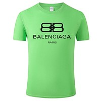 Balenciaga 2019 new double B printed letter round neck half sleeve T-shirt Green