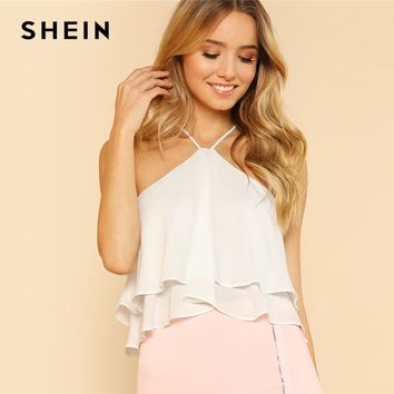 SHEIN White Vacation Boho Bohemian Beach Backless Ruffle Tiered Layer Zipper Crop Halter Top Summer Women Solid Vest