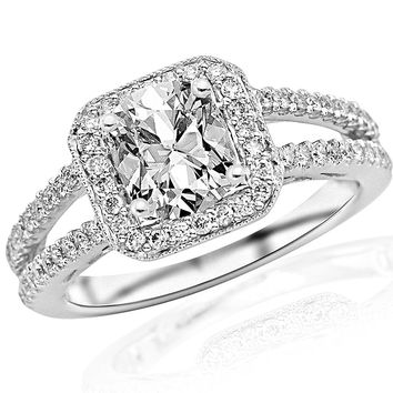 CERTIFIED | 1.2 Carat Designer Split Shank Halo Style With Milgrain Diamond Engagement Ring (H Color, VS2-SI1 Clarity) - Cushion Cut/Shape