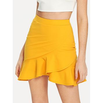 Asymmetrical Ruffle Hem Wrap Skirt Yellow