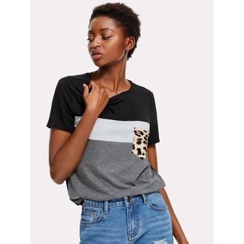 Cut And Sew Leopard Pocket Patched Top Multi