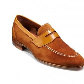 Men Brown Penny Loafer Suede Leather Shoes