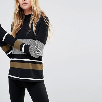 Weekday Stripe High Neck Jumper